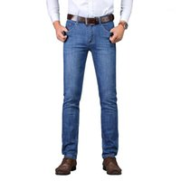 Suleo Brand Mens Brand Jeans Men Regular Fit Jeans Denim Causal Pants Lavato blu per uomo1