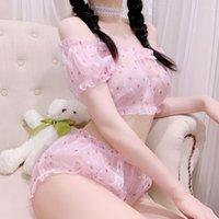 Kawaii estate donna trasparente principessa abbigliamento domestico 2 delicati set di pigiami per le donne lolita nightwear lingerie sexy