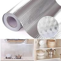 Многофункциональный 40x500см Кухонная нефтяная водонепроницаемая наклейка на стене алюминиевая фольга печь кабинет столик самоклеящийся DIY обои