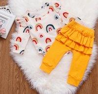 Bebek Kız Romper Set Sonbahar Bebek Giysileri Batı Tarzı Gökkuşağı Tek Parça Tulumlar Ruffled Pantolon İki Parçalı Set