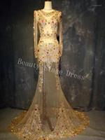 Stage Wear Multi-Color Crystals rispettivo abito da treno lungo Super Lussuoso Costume da sera Big Big Tail Wedding Celebribri Bomm1