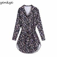 Günlük Elbiseler Yenkye Vintage Çiçek Baskı Kadın Elbise Yaka Yaka Uzun Kollu Kanatlar Kadın Bahar Vestido