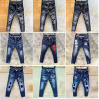 dsquared2 dsq d2 Мужские джинсы разрывает прямые джинсовые джинсы Италия Мода Slim Fit Промытый мотоцикл джинсовые брюки брюки панелей тазобедренные хип-хопки 11