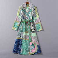 1112 2020 otoño libre un abrigo de vestir de manga larga línea de solapa cuello forman Prom Moda flora Imprimir con paneles Marca mismo estilo SH
