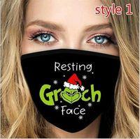 Print Stolite US Grinch Stock Рождество Новый год Черные маски Многоразовые моющиеся пыли Доступа Мода Хэллоуин Маска для лица Горячая распродажа