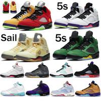 أحذية رجالي كرة السلة 5 5S أبيض س الشراع البديل بيل النار الأحمر الفضة اللسان الجزيرة الأخضر أوريغون ما المدربين في الهواء الطلق أحذية رياضية
