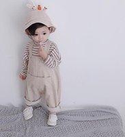Весна осень корейский стиль детские мальчики девочки моды ведуры свободные комбинезоны младенческие дети повседневные Все-матча подвеска брюки LJ201017