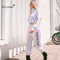 2020 İkinci El Eğitim Takım Elbise Kıyafetler Spor Moda Kadın 2-piece Broek Setleri Kadınlar Beyaz Hoodies Kazak Kırpma Üst
