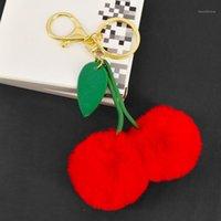 Брелок оригинальный милый из искусственного меха мяч Помпам вишневый брелок пушистый помпон ключ цепь POM игрушка брелок сумка подвески автомобиль Trinket1