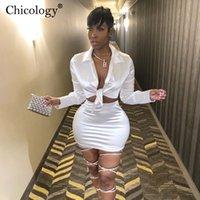 CHICOLOGÍA Mujer Silky Satin 2 Set de dos piezas Conjunto de cordura de manga larga Top Top High Cintura Mini falda Otoño Invierno Dama Ropa 201008