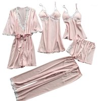 Women's Sleepwear 2021 Femmes Sexy Dentelle Lingerie Nightwear Nightwear Sous-Vêtements Babydoll Robe 5PC Suit Fashion Cadeau de haute qualité Drop1