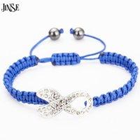 Bracelets de charme bracelet jinse bracelet cristal strass ruban perles de cancer du sein cancer sensibilisation tricoté ajustable macrame tissé à la main