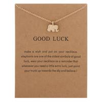 Elegantes mujeres encanto collares colgantes con tarjeta buena suerte elefante unicornio ala perla gargantilla collar regalo de joyería para niñas