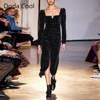 Yeni Kadın Tasarımcı Kadife Elbise Maxi Uzun İnce Seksi Bölünmüş Retro Parti Elbiseler Kadın Zarif Lüks Elmas Kemer Vestidos