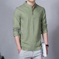 Polos dos homens 2021 homens primavera de algodão linho quimono camisa manga longa lazer sólido roupa chinesa casual carrinho camisas