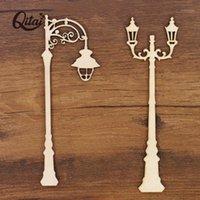 Objetos decorativos figuras qitai 12 pcs / set luzes lâmpada de rua para casa decoração de madeira diy scrapbooking ornamentos tiro adereços parede