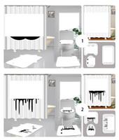 4pcs conjunto cortinas de ducha letra clásica logo de inodoro cubiertas de asiento inodoro antideslizante accesorios de baño de moda