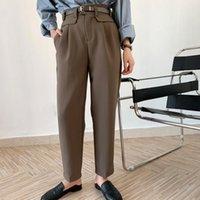 여성 바지 카프리스 패션 하이 허리 양복 바지 캐주얼 9 분 넓은 다리 Harlan Simple Pendant