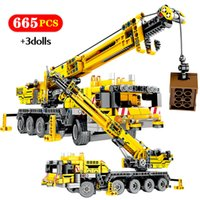 SEMBO City Engineering Truck Bulldozer Crane DIY Building Blocks Technic Construction Car Excavator Roller Bricks Toy For Boy Q1126