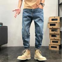 Männer gerade Bein Jeans Hosen Button Taille Teenager Casual Elastic Hosen Kleidung Hip Hop Wide Bein Lange Retro Jeans