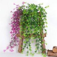 Dekoratif Çiçekler Çelenkler Duvar Asılı Yapay Bitki Rattan Asma Ev Garland Bahçe Düğün Decorimulation Altın Çan Yeşil Yaprakları