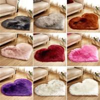 Forma de coração de pelúcia esteira sala de estar escritório imitação lã tapete quarto macio home não deslizamento tapetes 90 g2