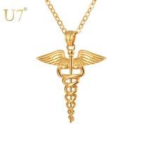 U7 aço inoxidável caduceus pingente colar enfermeira enfermagem doutor jóias presentes de formatura p1170