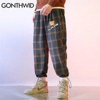 GonThwid Bear Patch Joggers Plaid Pantalones Harem Pantalones Streetwear Plancha Streetwear Mens Hip Hop Harajuku Casual Sweetpants Masculino 201109