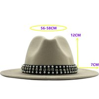 Hot Sale Fashion Men Women Wide Brim Wool Felt Fedora Panama...