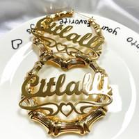 Orecchini di bambù personalizzati Personalizza Acrilico Personalizza i nomi Orecchini Personalizza gioielli Fashion Show Charming Gold Gift1