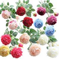 3 Theads Fleurs artificielles Pivoine Bouquet de soie Fleurs de soie Bouquet de mariée Automne Fake Fake Rose pour la décoration de fête de la maison de mariage