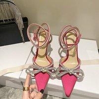2021 Высочайшее качество Женщина Высокие каблуки Платье Обувь Вечеринка Мода Сатин Боути Алмазные Девушки Сексуальные Замечаемые Носки Дизайнерские Насосы Свадебная Обувь