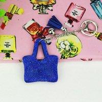الحلي Wemen فتاة لطيف الشرابة حقيبة جلدية حقيبة كريستال مفتاح سلسلة سيارة الدائري قلادة هدية حجر الراين المفاتيح