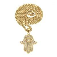 Hip Hop Big Hamsa Hand Fatima Strass Anhänger Halskette Für Frauen Männer Europa Verkauf Boutique Evil Eye Halskette Glücksschmucksry1
