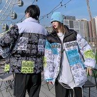 Mens bandana patchwork parkas vintage grossos jaquetas inverno unisex morno algodão casal blusão acolchoado de casacos grandes