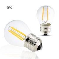 Lámpara de filamento LED Retro G45 LED 2W 4W 4W 6W Filamento regulable Bombilla E27 E14 COB 110V Cáscara de cristal Vintage Lámpara