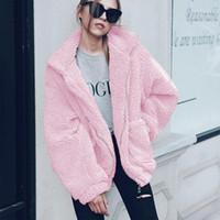 Bayan Teddy Bear Coat Kalın Sıcak Katı Renk Teddy Ceket Down Yaka Uzun Kollu Faux Kürk Artı Boyutu 3XL
