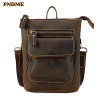 PNDME casual simple multi-function genuine leather men's waist packs vintage cowhide small shoulder messenger bags belt bag