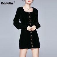 Banulin 2020 Yeni sonbahar kış kadın Fener uzun kollu Pist Mini Elbise moda kadife bağbozumu düğmesi şık Kısa elbise