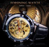 Forborining Retro Flower Design Classic Black Golden Watch Golden Band in vera pelle Resistente agli uomini Automatics Automatics Orologi da uomo Orologi da uomo