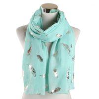 Sciarpe Donne Silver Foil Piume Stampato Stampato Scialle Wrap Hijab Sciarpa Donna Accessori per abbigliamento femminile1