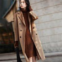 AIGYPTOS Классический шерстяной средней длины осенью и зимнего пальто двухсторонний кашемировый пальто волнистый кашемир высокого класса 201218