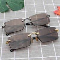 Wholesale- Vazrobe Rimless Glass Sunglasses Men Brown Crystal...