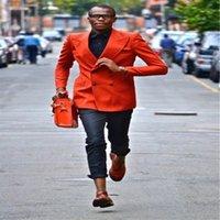 Пользовательские последние дизайн оранжевые мужские костюмы повседневные свадьбы выпускного жениха Terno Masculino Blazer для платья человека 2 штурма (куртка + брюки) 1