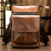 Bag Mens Pack Male Shoulder WESTAL Crossbody Mini Phone Bags Flap Money Sport Belt Genuine Leather Messeneger Fanny For Rarli