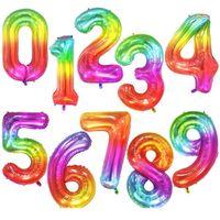 40Inch Big Folie Geburtstag Ballons Helium Anzahl Ballon 0-9 Happy Birthday Hochzeits-Party Dekorationen Dusche Große Figur Jlllunk