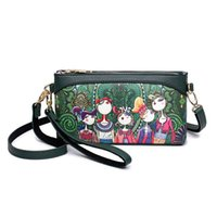 Shoulder Bags Small Crossbody Bags Women High Quality PU Leather Handbags Ladies Designer Cartoon Printing Purse(green)