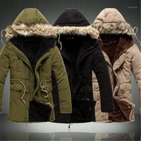 Wholesale- Men Coat Sale Men's Solid Causal Long Warm Male Fashion Padded Hooded Winter Wear Thick Coat1 Men's Down & Parkas