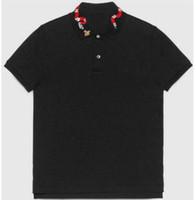 2020 Nova Moda Homens Pólo Camisa Snake Bee Collar Camisa Casual Polos Manga Curta Algodão Camisetas Camisolas Tamanho M-XXXL Preto Branco
