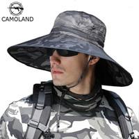 Baim de Brim Ponachos Chapéus Camoland Camuflagem Bucket para Mens Upf 50+ Verão Sol Chapéu Casual Masculino Pesca Ao Ar Livre Longo Boonie Cap1